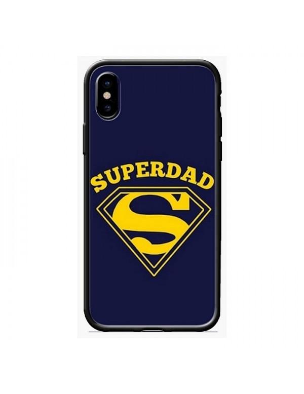 Coque iPhone X/XS - Super Dad bleu foncé