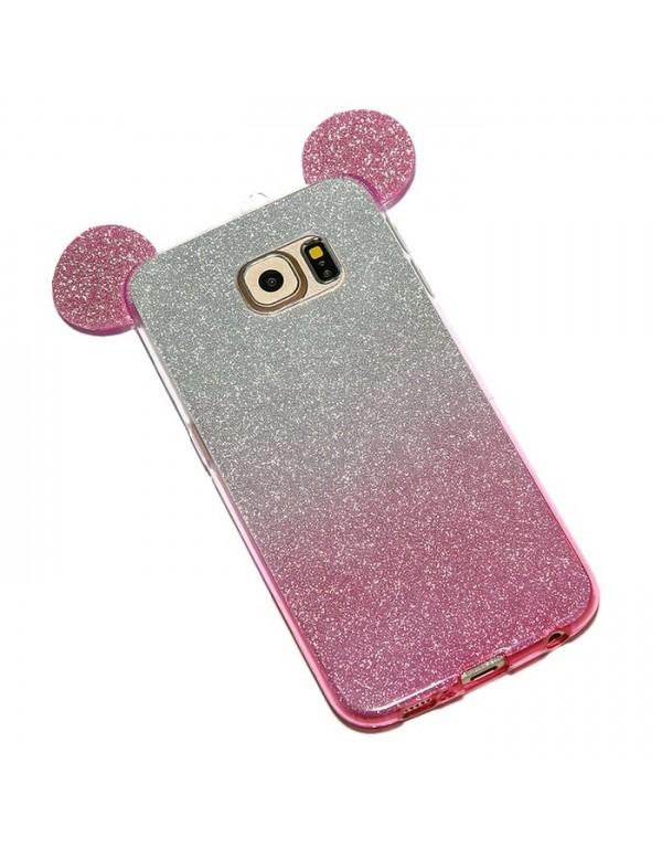Coque silicone Samsung Galaxy S7 Edge - Oreilles de Mickey pailletée Rose