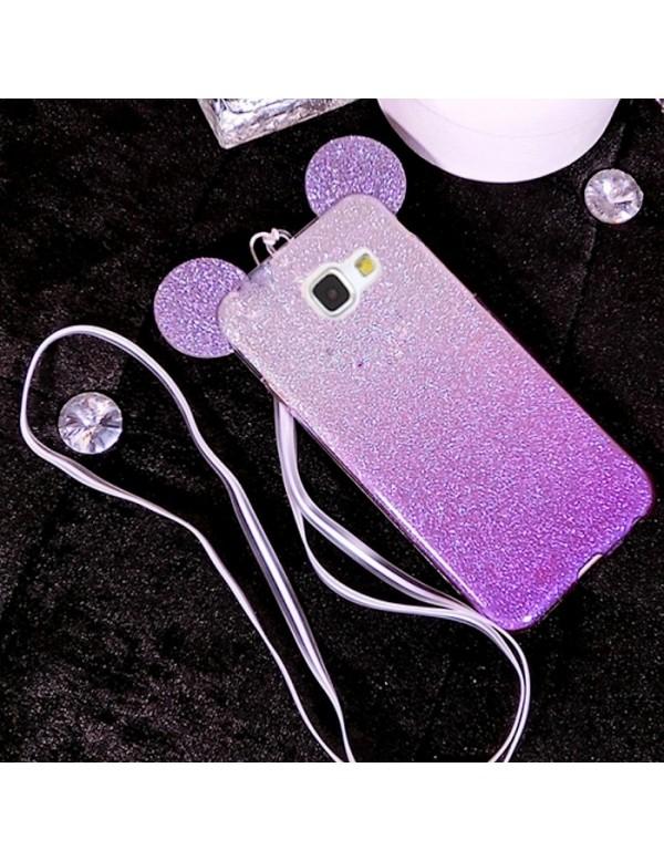 Coque silicone Samsung Galaxy S7 Edge - Oreilles de Mickey pailletée Violette