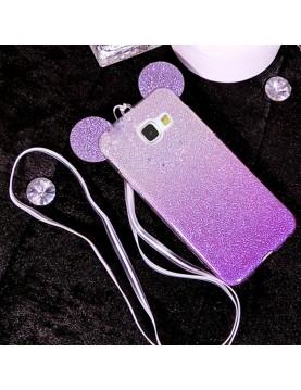 Coque-silicone-Samsung-Galaxy-S7-Oreilles-de-Mickey-pailletée-Violette