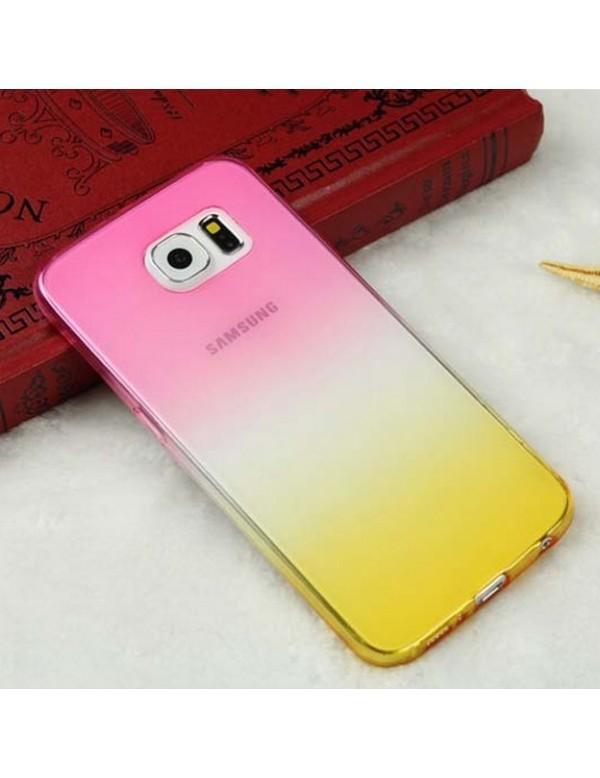 Coque silicone Samsung Galaxy S6 Edge Plus -Effet dégradé jaune rose translucide