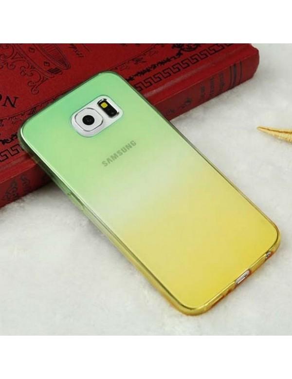 Coque silicone Samsung Galaxy S6 Edge Plus - Effet dégradé jaune vert translucide