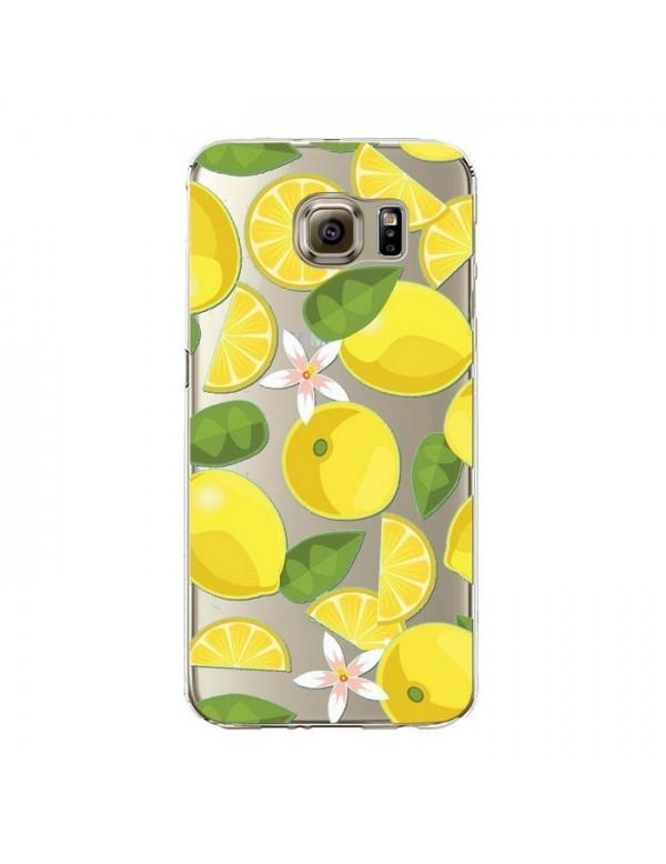 Coque silicone Samsung Galaxy S6 Edge Plus - Fruits de saison - Citrons jaunes.