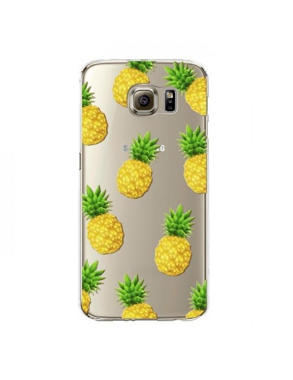 Coque silicone Samsung Galaxy S6 Edge Plus - Fruits de saison - Ananas jaunes.