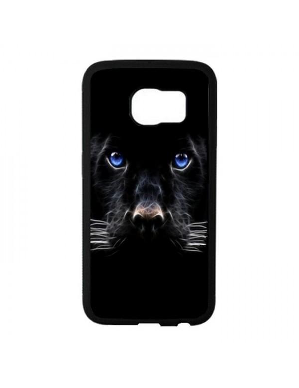 Coque rigide Samsung Galaxy S6 Edge - Panthere noire aux yeux bleus