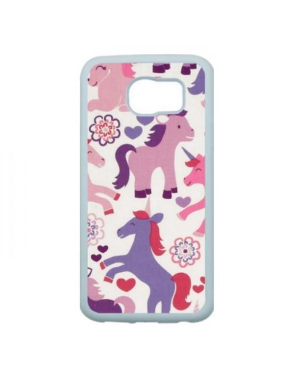 Coque rigide Samsumg Galaxy S6 Edge - Licornes de couleurs