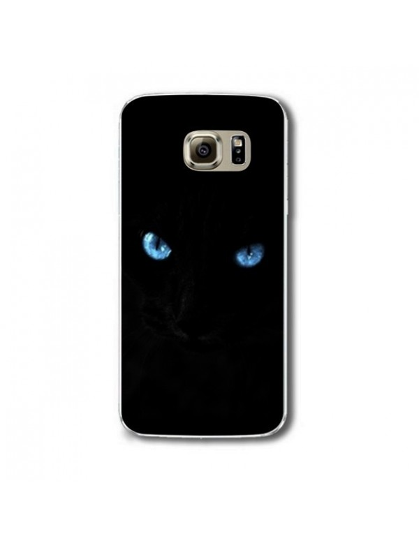 Samsung galaxy S6 Coque rigide Chat noir yeux bleus