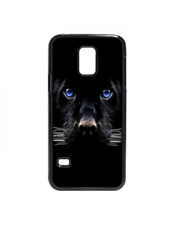 Coque Samsung Galaxy S5 Panthere noire aux yeux bleus