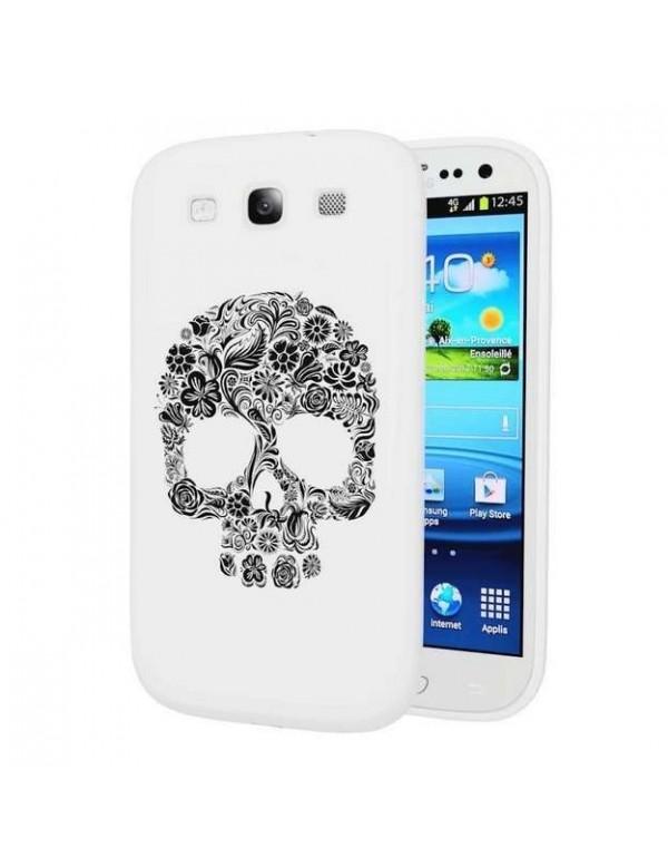 Coque Samsung Galaxy S3 Tête de mort Skull Flower-Blanc