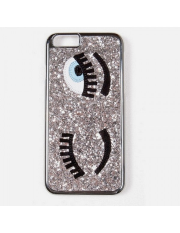 Coque 3D iPhone 7/8 argent  pailleté yeux bleus clin d oeil