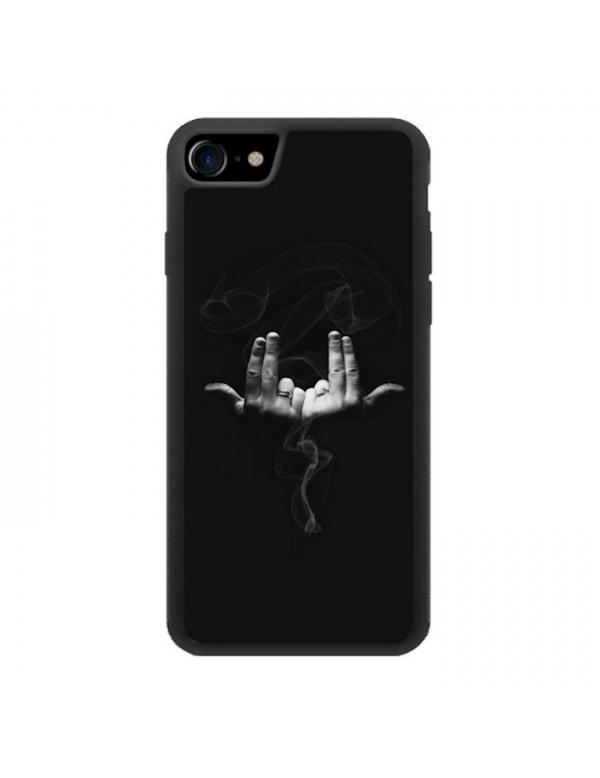 Coque noir pour iPhone 7/8 - Geste rappeur Jul