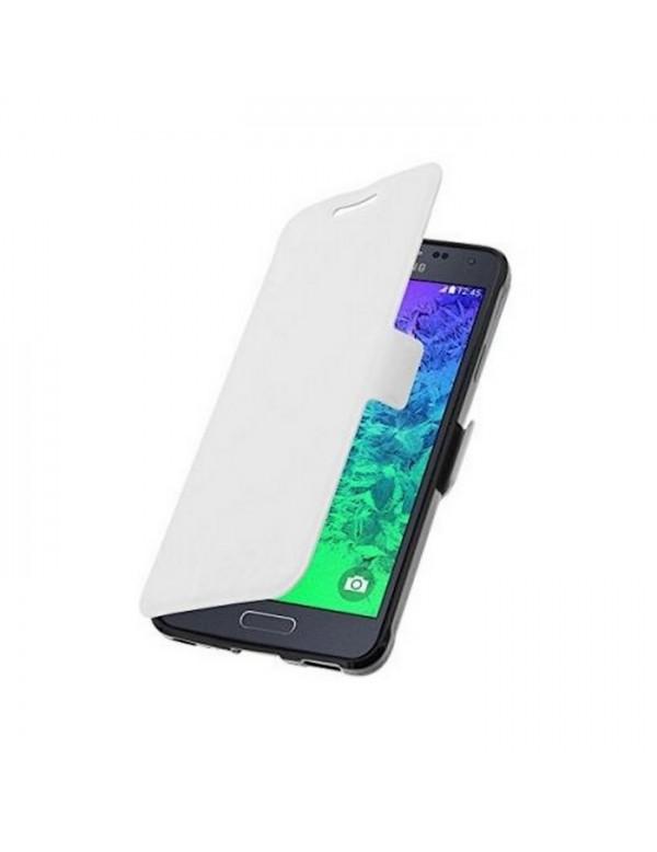 Etui Folio Rabat Ultra Fin Simili Blanc pour Samsung galaxy alpha