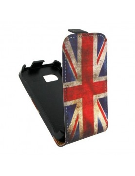 Etui Portefeuille Simili cuir noir et Drapeau Anglais pour Galaxy S4 mini