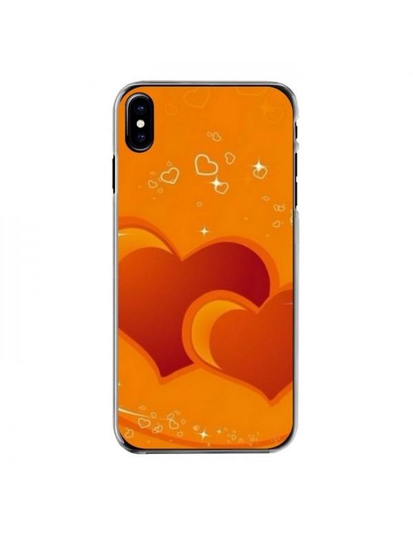 Coque pour iPhone X - Motif Coeurs sur fond orange.