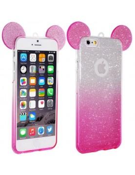 Coque silicone iPhone 7/8 - Oreilles de Mickey pailletée Rose