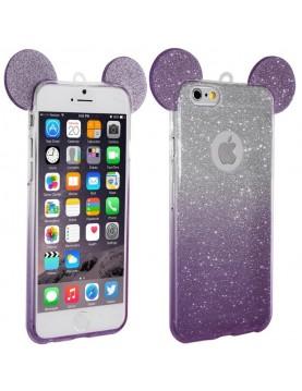 Coque silicone iPhone 7/8 - Oreilles de Mickey pailletée violet