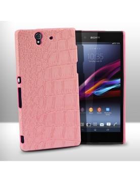 Coque-Sony-Xpéria-Z1-Croco-Gloss-Rose-vue-face
