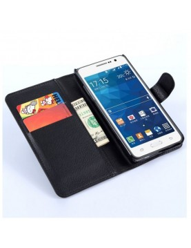 Étui portefeuille Samsung Galaxy Grand Prime/VE - Simili-cuir noir
