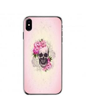 Coque rigide contours transparent pour iPhone X - Skull fleurie rose