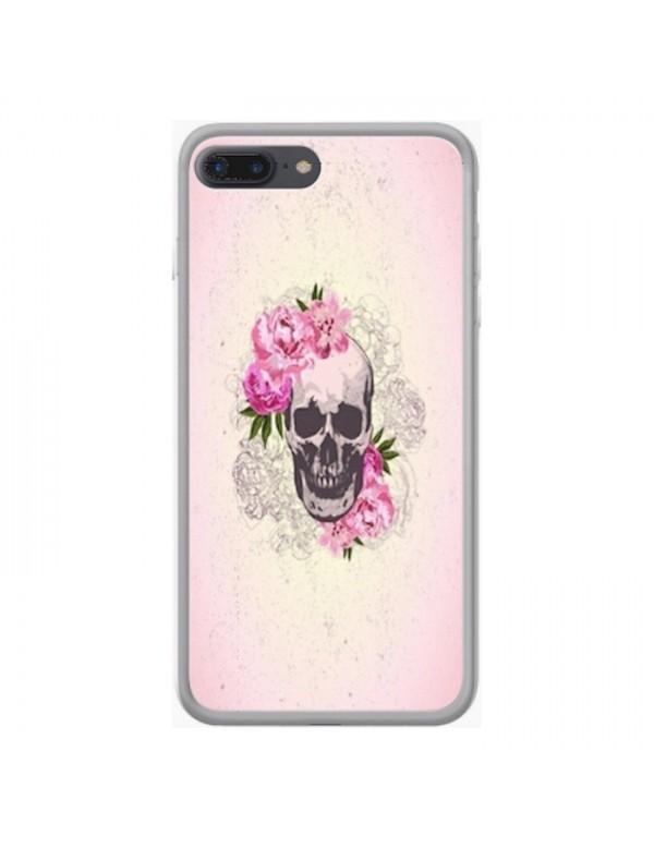 Coque rigide iPhone 8 plus/7 plus - Skull fleurie rose