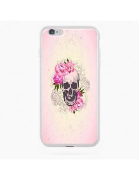 Coque rigide coté blanc iPhone 6/6S Plus - Skull fleurs rose
