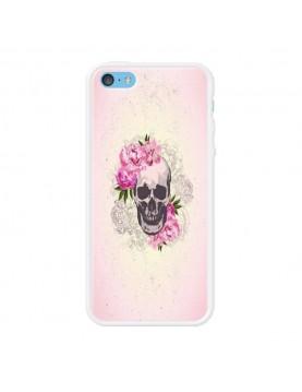 Coque rigide coté blanc iPhone 5C - Skull fleurs rose
