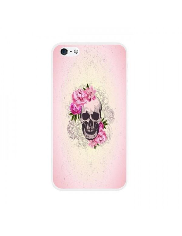 Coque rigide iPhone 4/4S - Skull fleurie rose