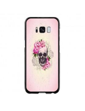 Coque rigide coté noir Samsung Galaxy S8 Plus - Skull fleurs rose