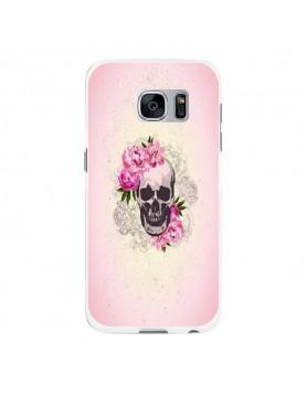 Coque rigide coté blanc Samsung Galaxy S7 - Skull fleurs rose