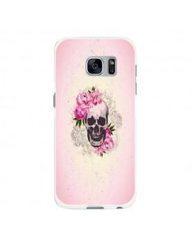 Coque rigide coté blanc Samsung Galaxy S6 Edge - Skull fleurs rose