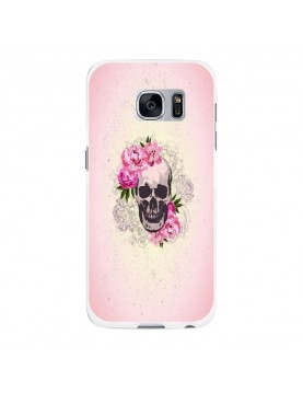 Coque rigide coté blanc Samsung Galaxy S6 - Skull fleurs rose