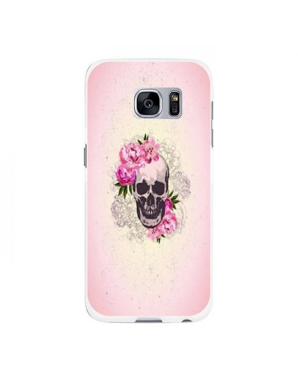 Coque rigide Samsung Galaxy S6 - Skull fleurie rose