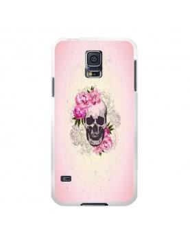 Coque rigide coté blanc Samsung Galaxy S5 - Skull fleurs rose