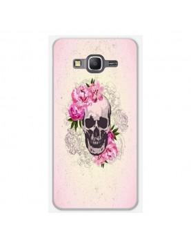 Coque-rigide-coté-blanc-Samsung-Galaxy-Grand-Prime-Skull-fleurs-rose