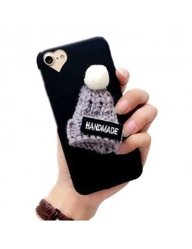Coque silicone noir iPhone 5/5S avec bonnet en laine 3D