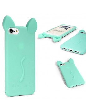 Coque silicone iPhone 5/5S - Oreille de chat Vert en 3D