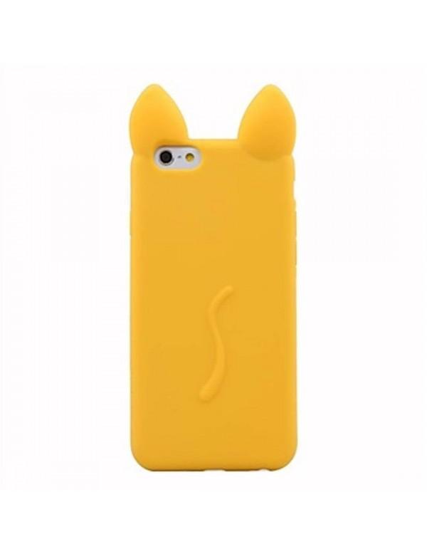 Coque silicone iPhone 5/5S - Oreille de chat Jaune en 3D