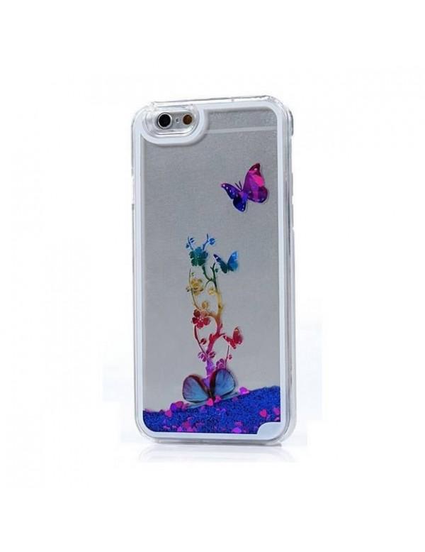 Coque iphone 6 plus/6S plus - Sable mouvant fleurs papillon bleu