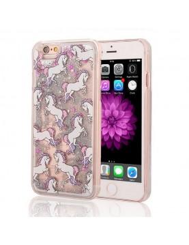 Coque- iPhone- rigide- 6/6s- Licornes- et -paillette- grise-liquide-