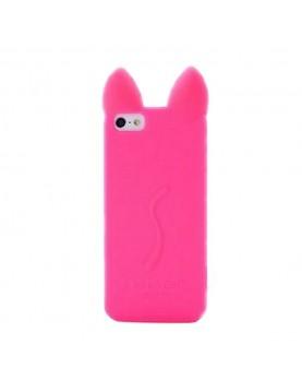 Coque-silicone-iPhone-6-6S-Oreilles-de-chat-3D-Rose-fuschia-vue-de-face