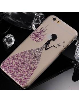 iPhone 6 plus/6S plus coque souple transparente robe diamant violet