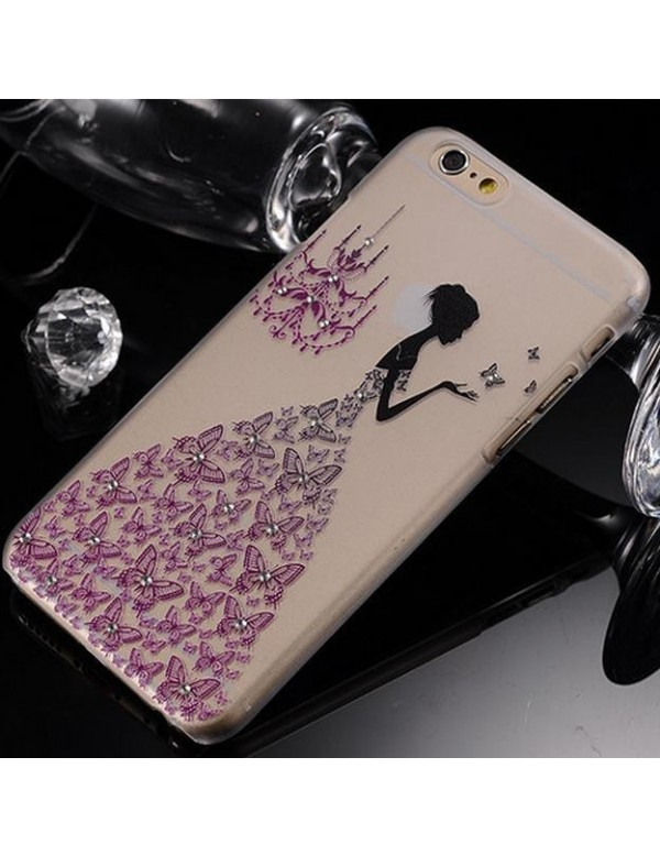 iPhone 6 plus/6S plus coque souple transparente robe diamant violet