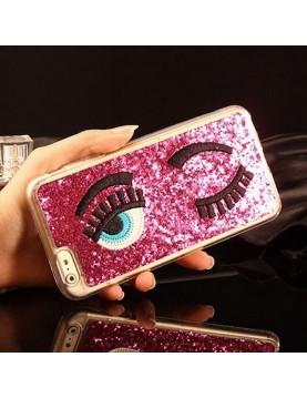 Coque 3D iPhone 6PLUS/6S PLUS-rose pailleté yeux bleus clin d oeil