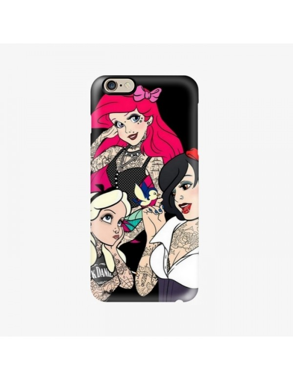 Coque iPhone 6 6S PLUS Princesse tattoo Blanche neige Ariel et Alice