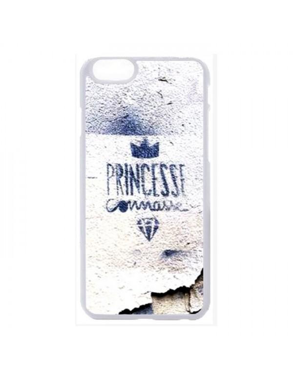 Coque 2D blanche iPhone 6 plus 6S Plus princesse connasse bleu