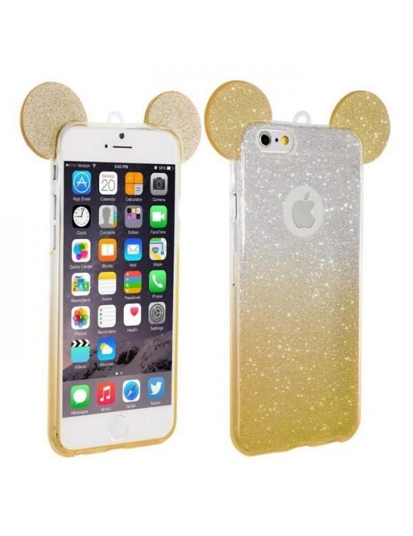 Coque silicone iPhone 6 Plus/6S Plus -  Oreilles de Mickey pailletée Or
