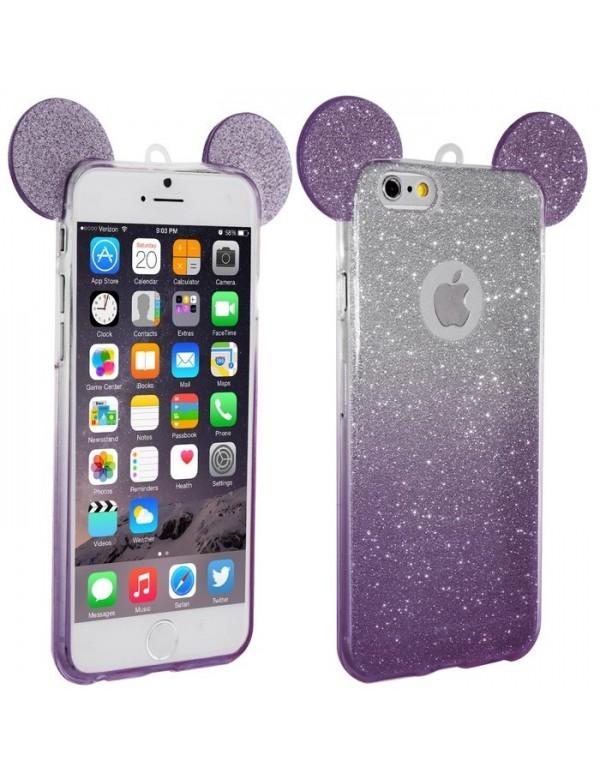 Coque silicone iPhone 6 Plus/6S Plus -  Oreilles de Mickey pailletée violet