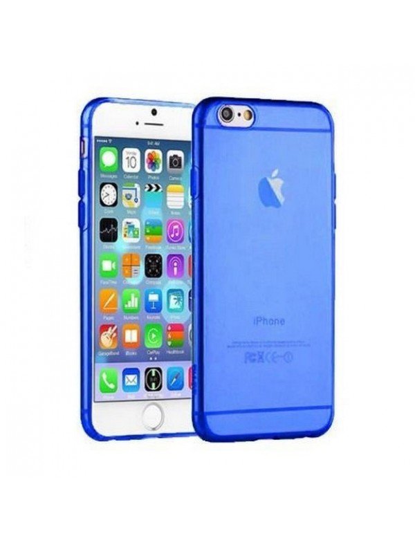 Coque iPhone 6/6S souple Bleu translucide.