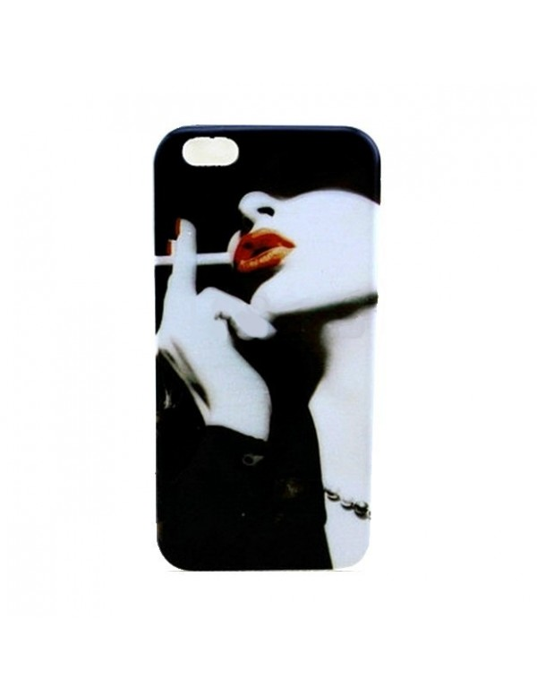 """Coque rigide iPhone 6/6S """"Lèvres rouges et cigarette"""""""