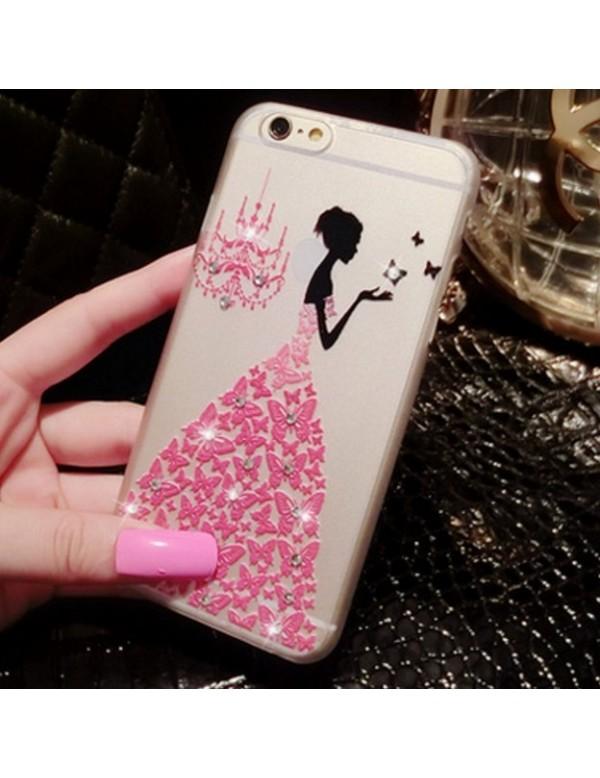 Coque silicone iPhone 6/6S  - Motif: Robe diamant rose